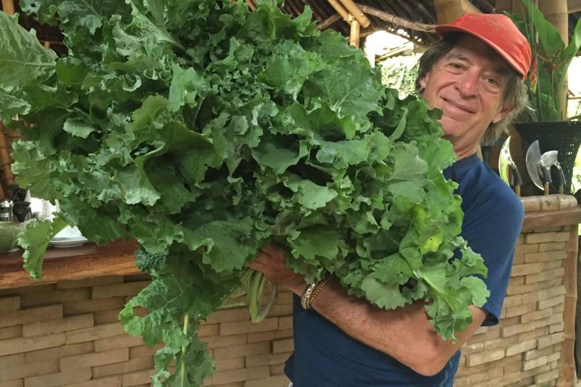 John and his kale at Bambu Indah