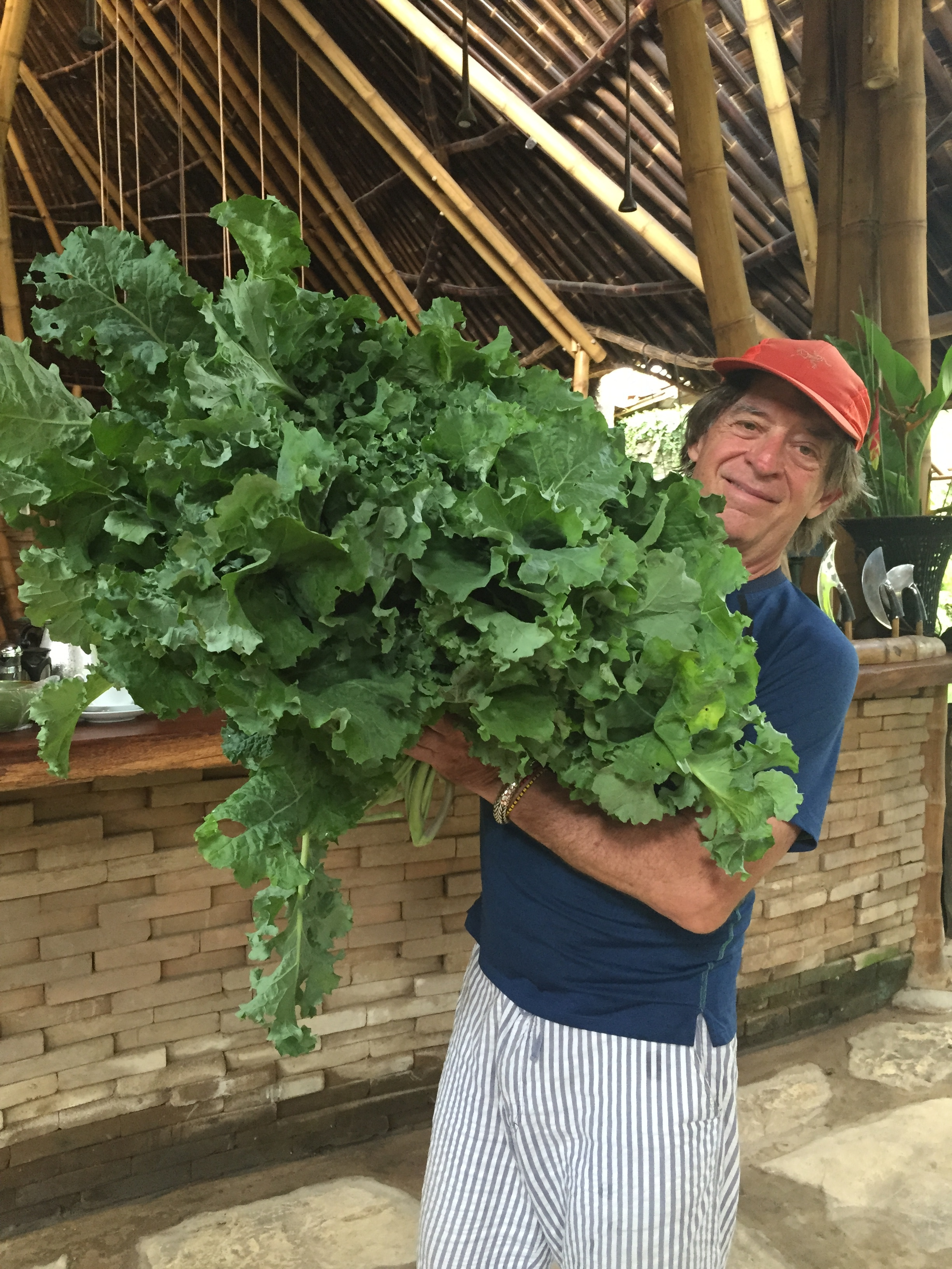 John and his kale at Bambu Indah