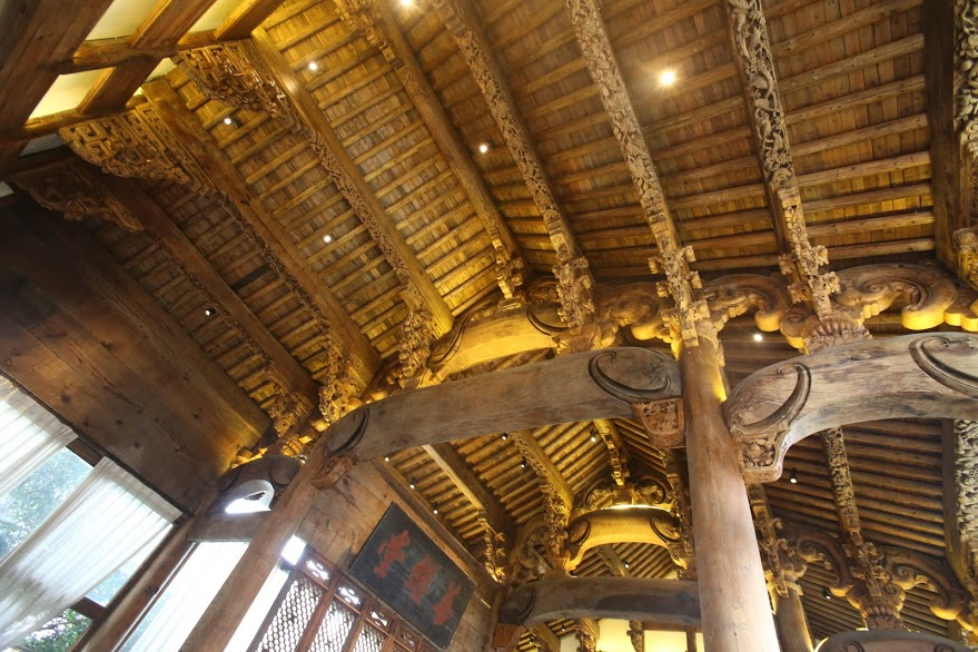 Wood carving details in ceiling