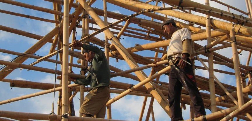 Building a bamboo school