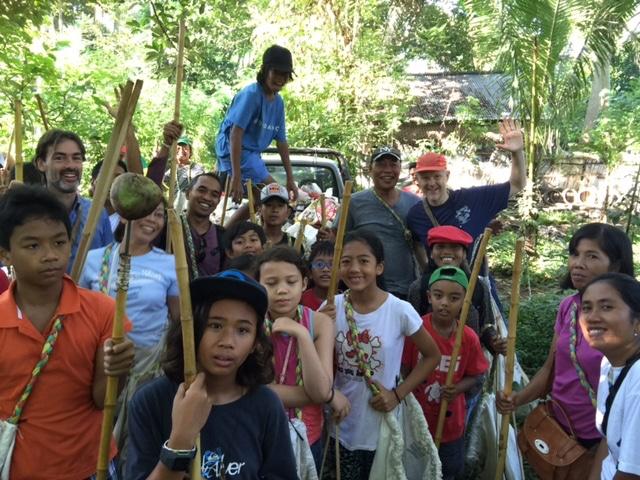 Kids on a trash walk in bali