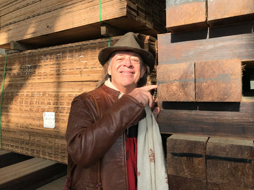 John Hardy with bamboo lumber