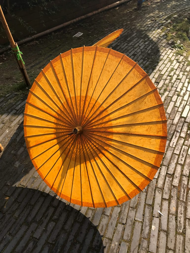 Bamboo umbrella in China
