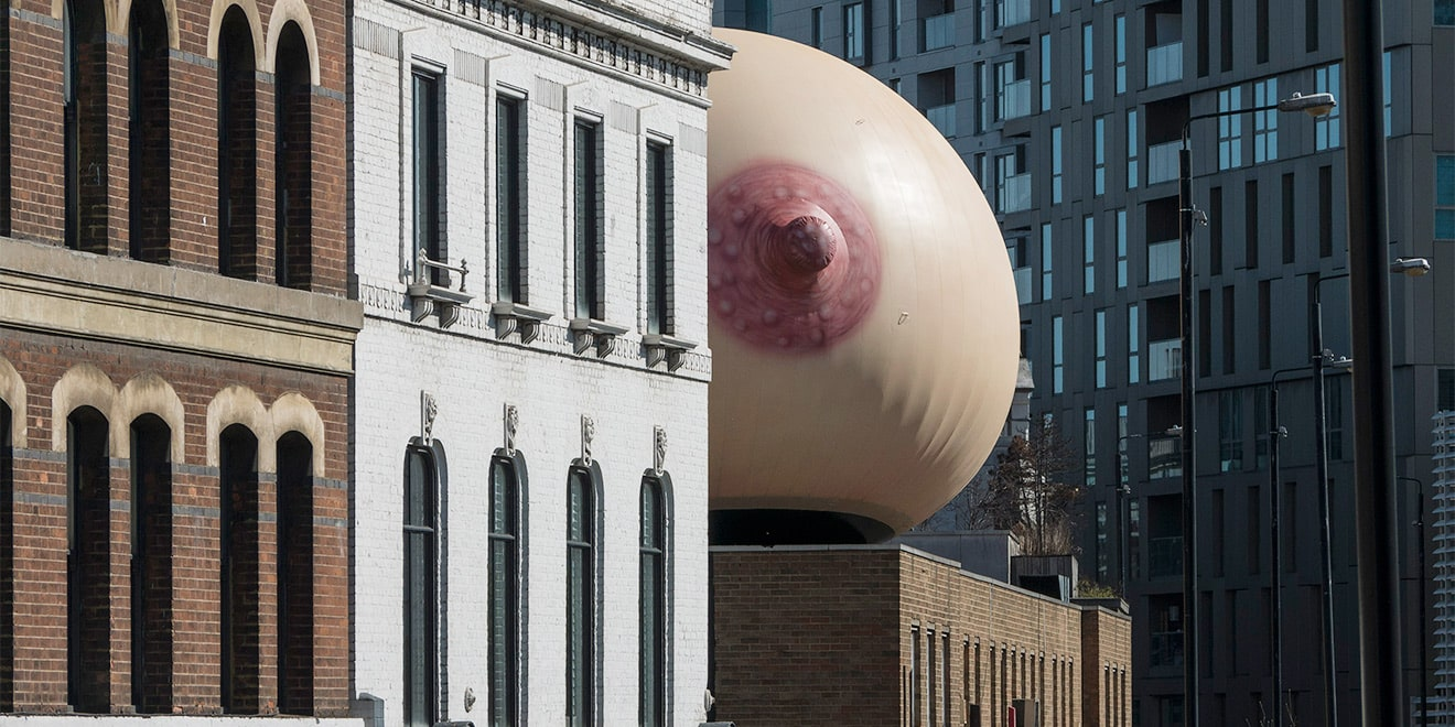A giant inflatable breast in London