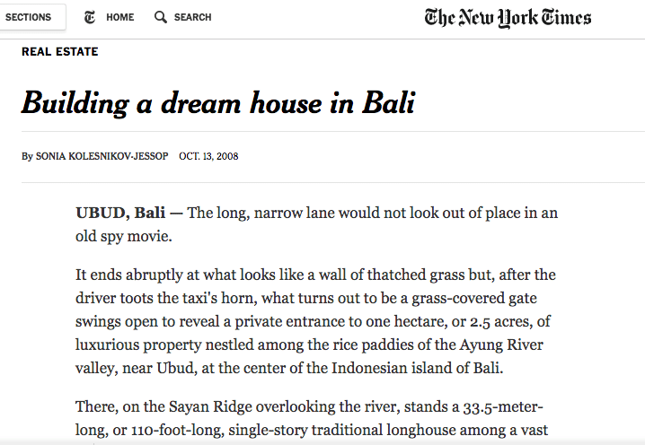 John Hardy Bali home New York Times