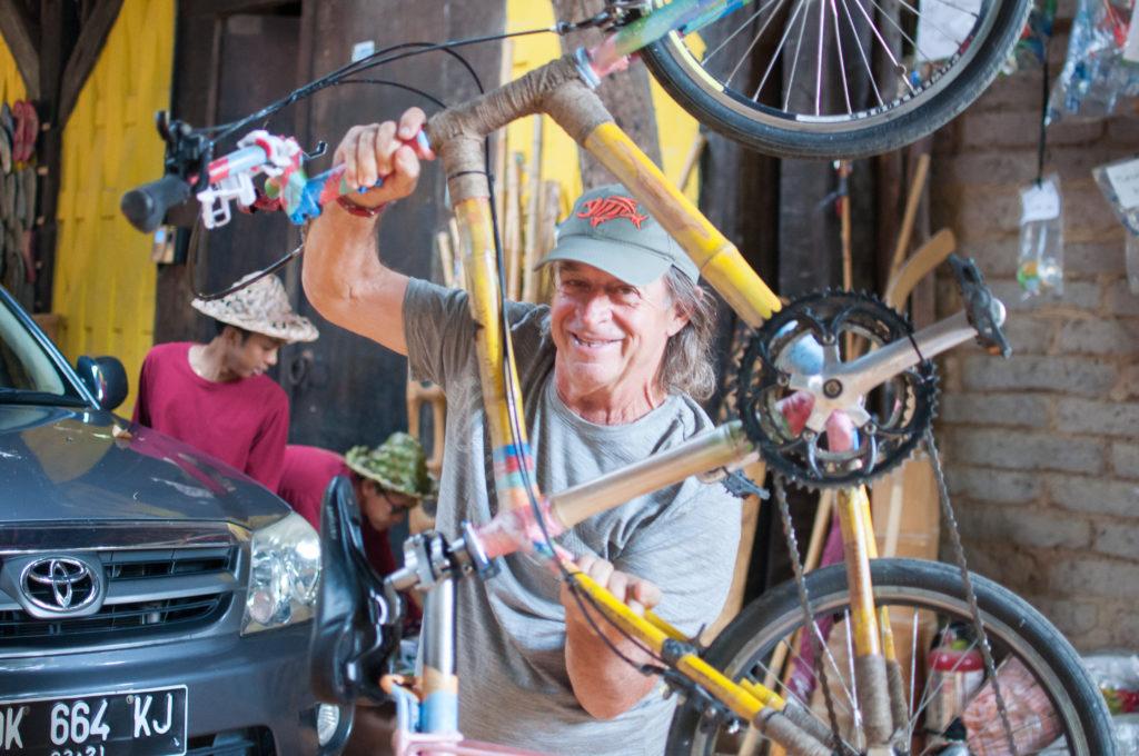 John Hardy with the Little Prince Bamboo Bike